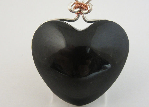 Obsidian Heart wrapped in Silver - 1