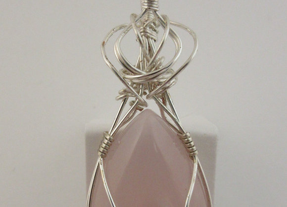 Rose Quartz wrapped in Silver - 1