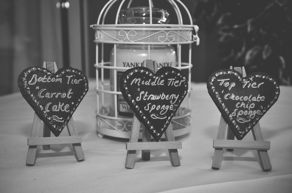 The Limes Wedding Photographer Solihull, Wedding Photographer Birmingham, little wedding signs in a vintage style regarding the wedding cake flavours