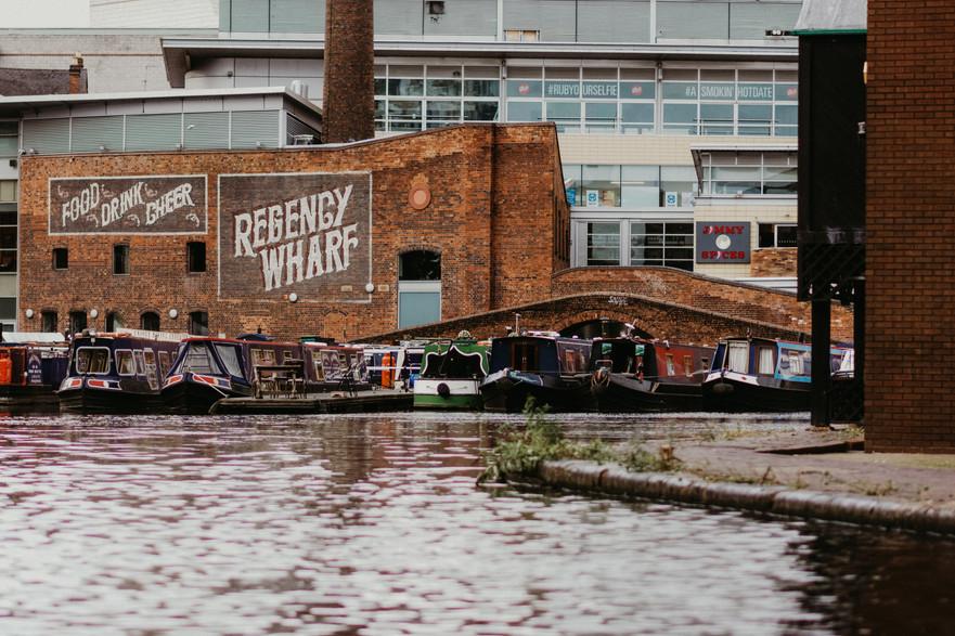 City Centre Wedding Photographer Birmingham, the canals of Birmingham, barges & a bridge