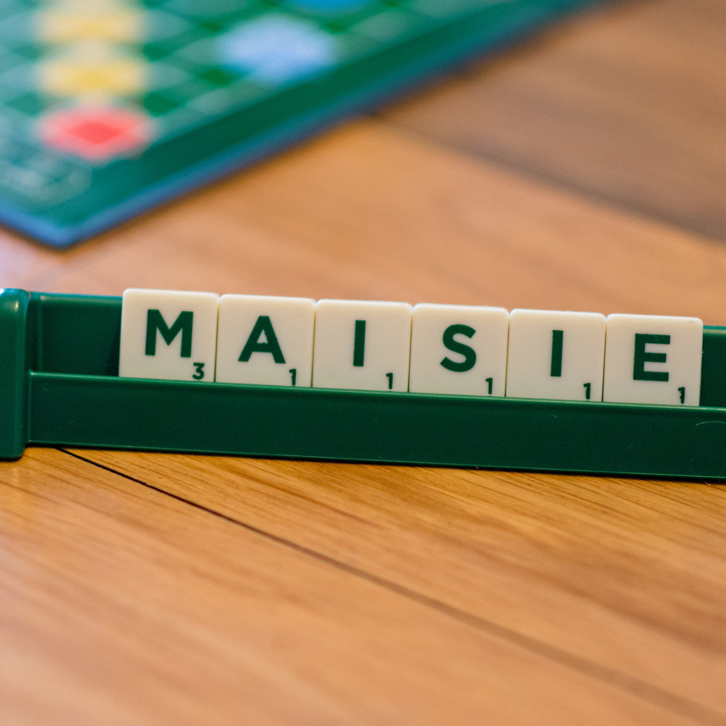 Pet Photographer Solihull, scrabble with a cats name, close up imgae
