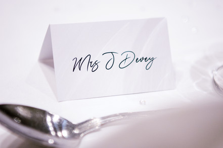Wedding Photography Birmingham, close up image of the place card at a wedding Westmead Redditch