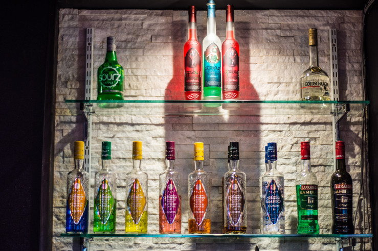 52 Gas Street Birmingham, photographer Birmingham, different gin bottles behind the bar