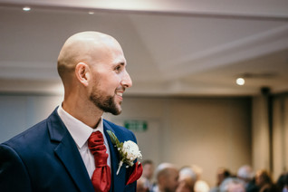 Wedding Photographer Solihull, portrait of the groom waiting for his bride at the wedding ceremony at the Westmead hotel Birmingham
