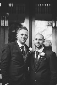 Birmingham Wedding Photographer, groom and best man black & white photograph at Westmead hotel Birmingham