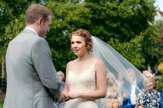 Lord Leycester Warwick wedding, bride & groom exchanging vows outdoor wedding, wedding photography Birmingham, uk
