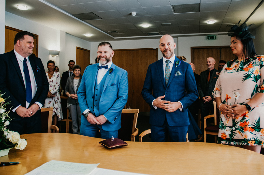 Birmingham Register Office Wedding Photographer Birmingham, the grooms when they see each other before the vows