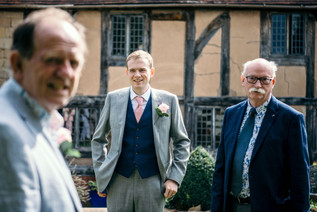 Lord leycester hospital wedding venue warwick, the groom & his father before the wedding ceremony, wedding photography Birmingham, uk