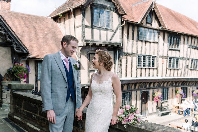 Photographer wedding Birmingham, bride & grooms portraits session at the lord leycester hospital wedding venue Warwick