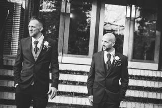 Wedding Photography Birmingham, the groom & best man standing outside the Westmead Birmingham, black & white informal image