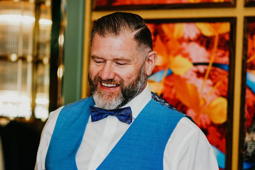 The Ivy Birmingham, same sex Wedding Photographer Birmingham, groom laughing during the speeches