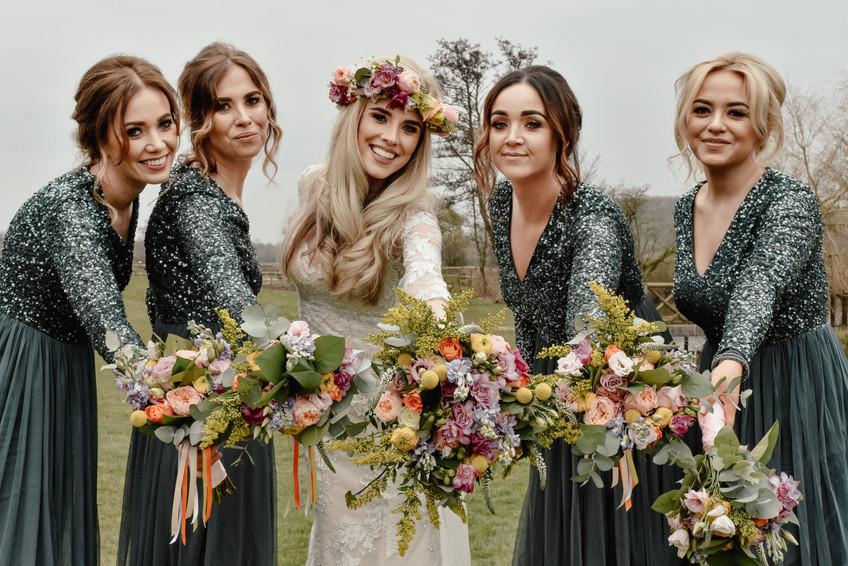 Wedding Photographer Birmingham, boho wedding photograph of the bride with her bridesmaids walking towards the camera, black & white photograph at Wootton Park Henley in Arden Photographer Birmingham