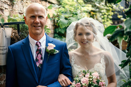 Photographer Wedding Birmingham, bride & father of the bride at the lord leycester warwick wedding