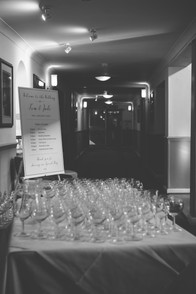 Wedding photography Birmingham, close up image of all the glasses lined up for a toast at the Westmead Birmingham