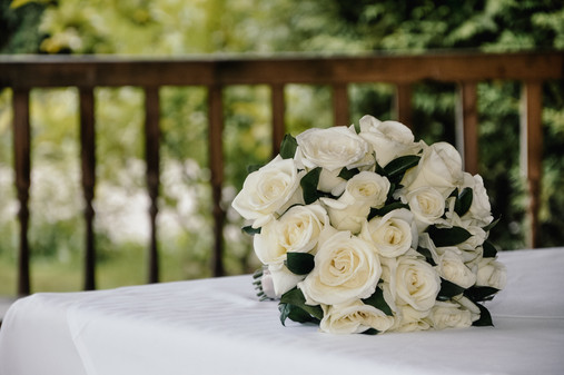 The Limes Solihull Wedding Photographer, Wedding Photographer Birmingham , the brides bouquet on the table at the outdoor wedding venue