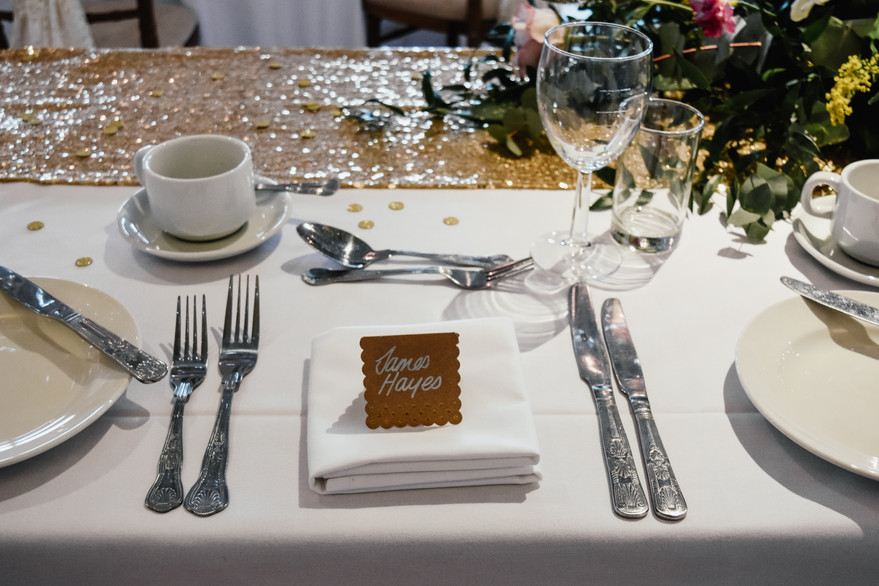 Wedding Photographer Solihull, close up detail of the place name for the groom on the wedding breakfast table at Wootton Park wedding venue Warwickshire