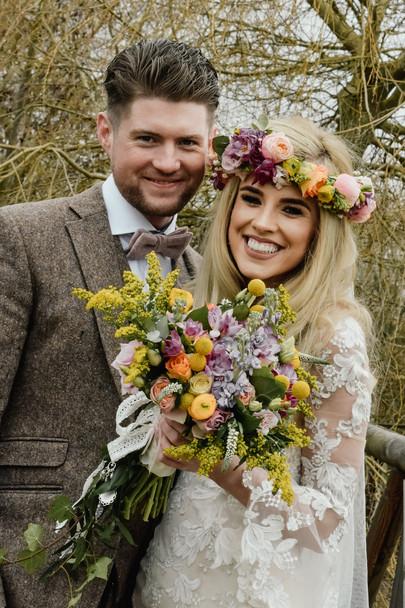 Wedding Photographer Birmingham, boho bride & groom, wedding couple portraits at Wootton Park warwickshire