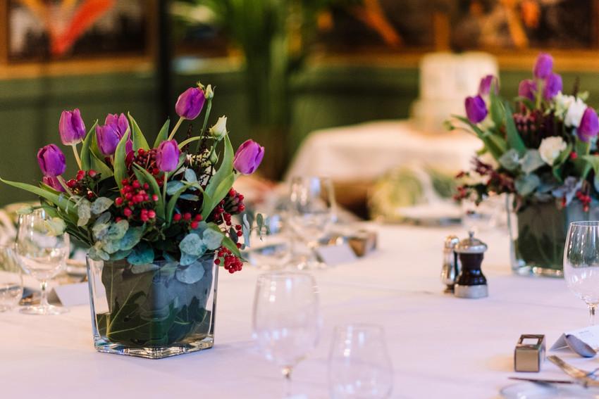 The Ivy Birmingham,  Wedding Photographer Birmingham, flower arrangements at the ivy for a wedding breakfast