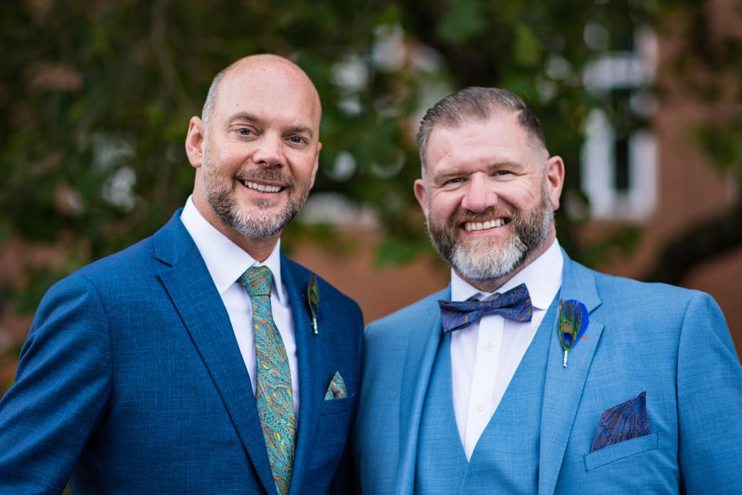 Civil Wedding Wedding Photographer Birmingham, colour close up portrait of the grooms on their wedding day