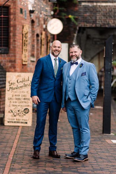 The Gin Vault Birmingham, Civil  Wedding Photographer Birmingham, the grooms posing for a nice informal photograph outside the Gin Vault