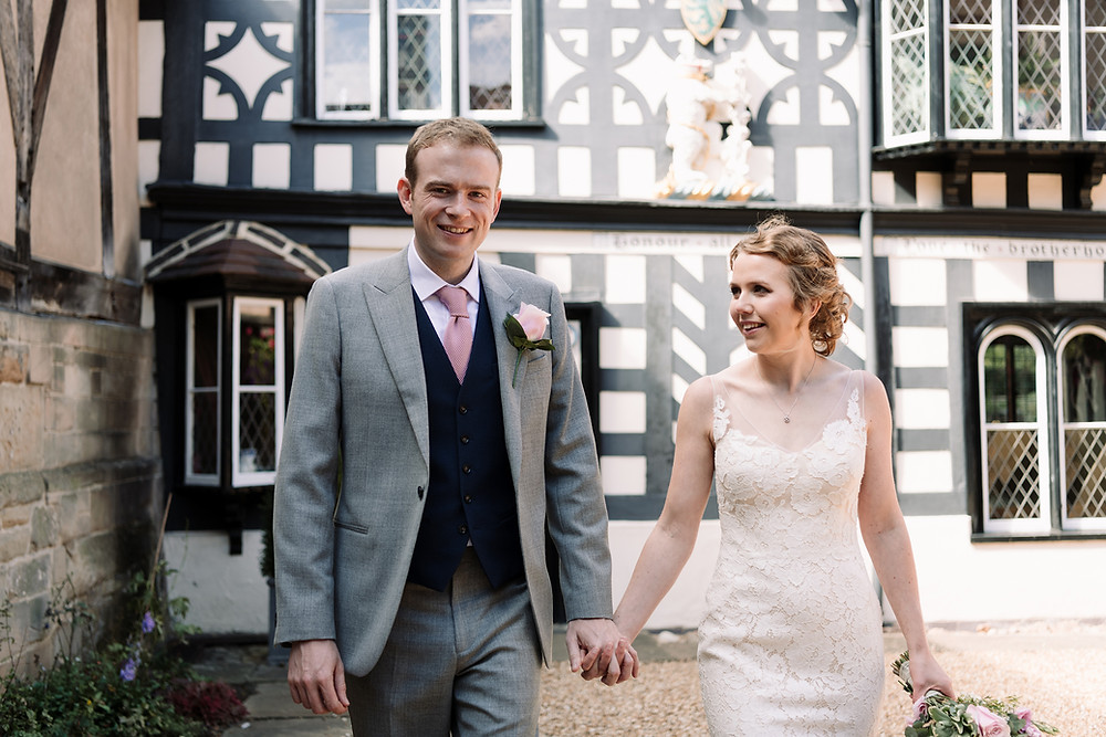 Photographer Wedding Solihull, the bride & groom looking at each other, couples portraits at the lord leycester Warwick