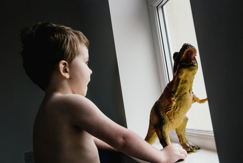 lifestyle photo shoot for kids Birmingham, little boy looking out of the window with his dinosaur