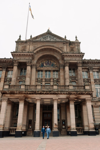 Civil Wedding Wedding Photographer Birmingham, the grooms standing outside the town hall in Birmingham in