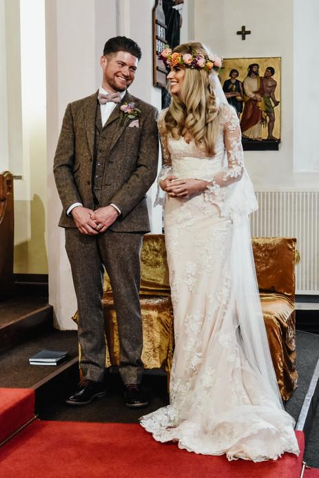 Wedding Photographer Birmingham, fun happy image of the bride & groom during the wedding ceremony