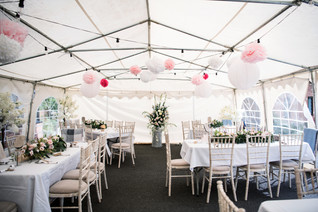 Solihull wedding photography, the wedding reception marquee set up before guests arrive at the elephant & castle rowington