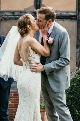 Lord Leycester Warwick wedding photography, solihull wedding photography, bride & groom kissing after the wedding ceremony at the lord leycester warwick