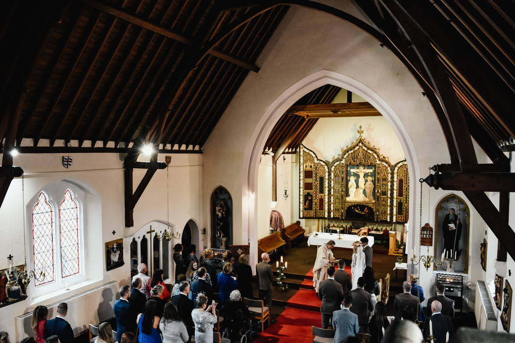 Wedding Photographer Birmingham, full length image of the church from above during a catholic wedding ceremony