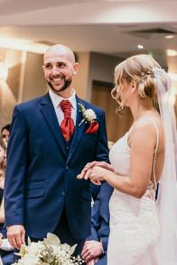 Wedding Photographer Birmingham, bride & groom smiling during the wedding ceremony at the Westmead hotel Birmingham, informal natural photo