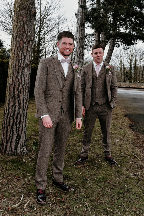 Solihull wedding Photographer , the groom & the best man at Wootton Park Warwickshire
