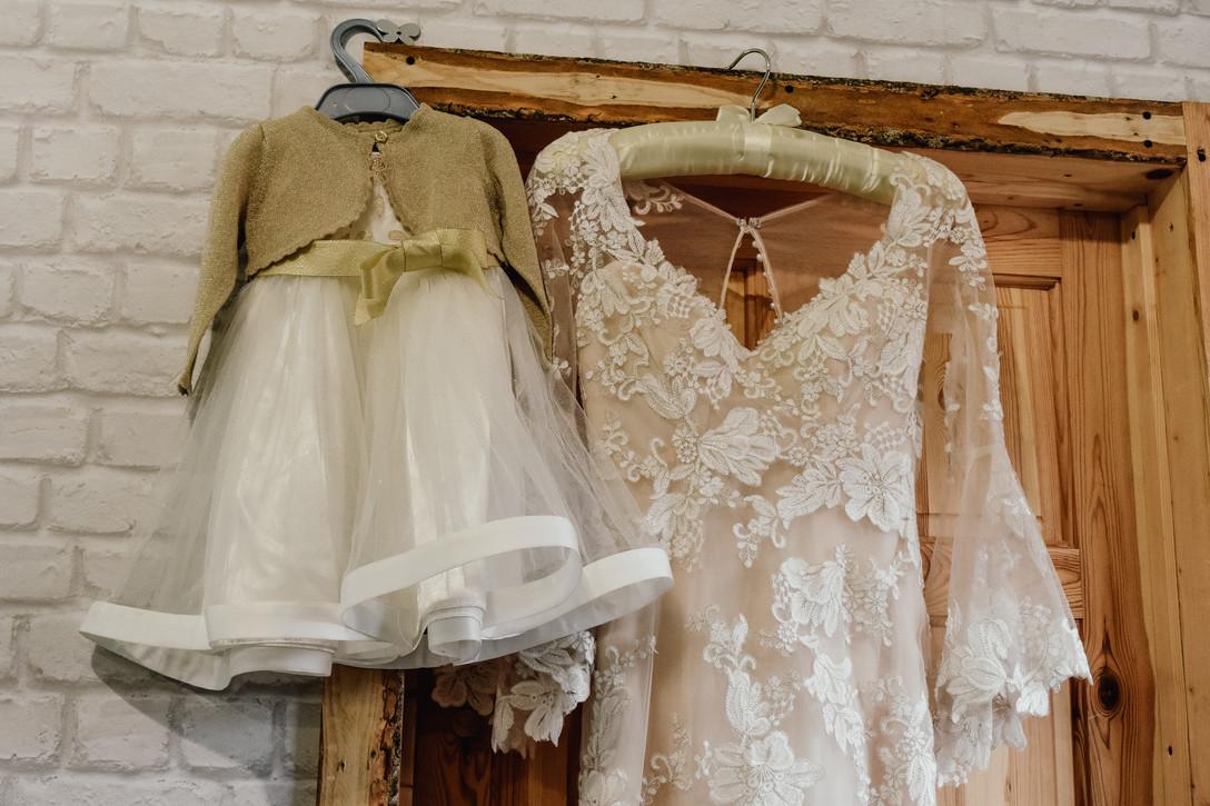 Wootton Park Wedding Photographer Warwickshire, bride & flower girls dress hanging up, wedding photographer Warwickshire