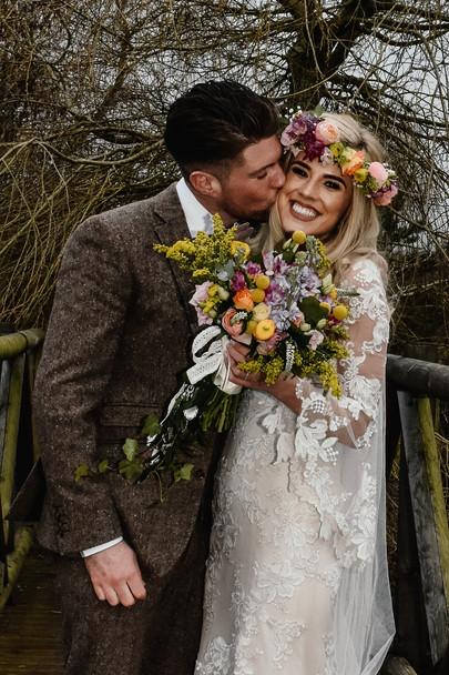Wedding Photographer Birmingham, boho bride & groom couples portrait session at their wedding at Wootton Park Warwickshire
