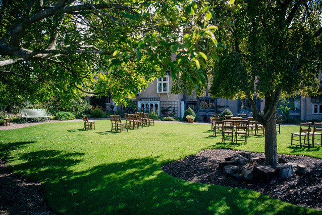 Photographer Wedding Birmingham. ceremony set up outside before the guests arrive at the lord leycester Warwick
