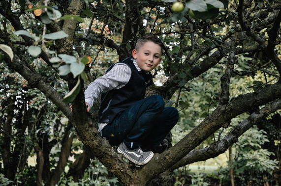 The Limes Wedding Photographer Solihull, Wedding Photographer Birmingham, little page boy in a tree at a wedding