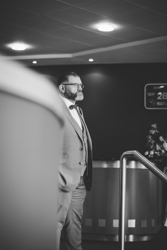 Birmingham Register Office Wedding Photographer Birmingham, the groom standing outside the ceremony before they go in