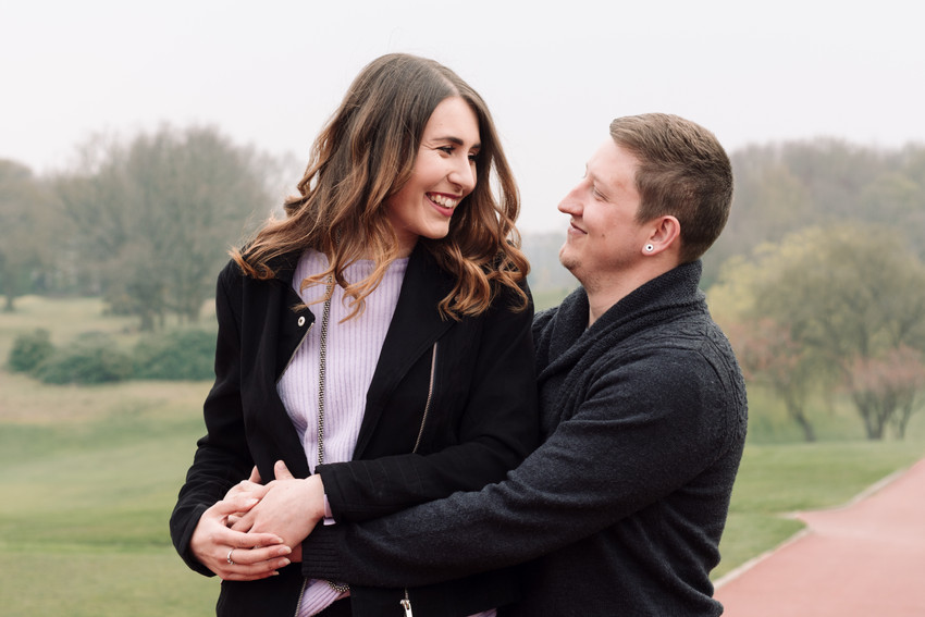 Engagement Photographer Solihull, Young couple photograph, looking at each other, laughing, having fun