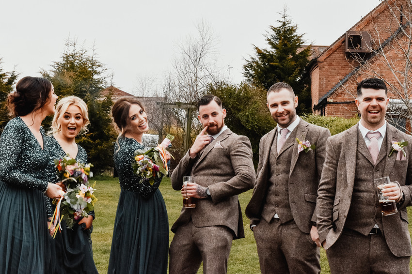 Wedding Photographer Birmingham, fun photograph of the bridesmaids & best men at Wootton Park Warwickshire