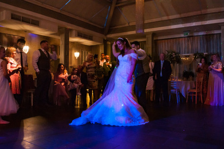 Hampton Manor Wedding photographer Solihull, bride & groom dancing to the first dance