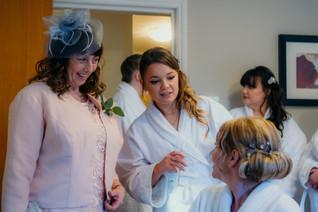 Wedding Photographer Birmingham, bride, bridesmaids & mother of the bride during the preparations at a wedding, informal fun photographer at the Westmead hotel Birmingham