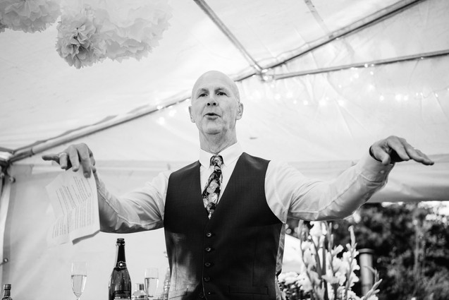 solihull wedding photography, funny photograph of the father of the bride during the speeches at the elephant & castle warwickshire