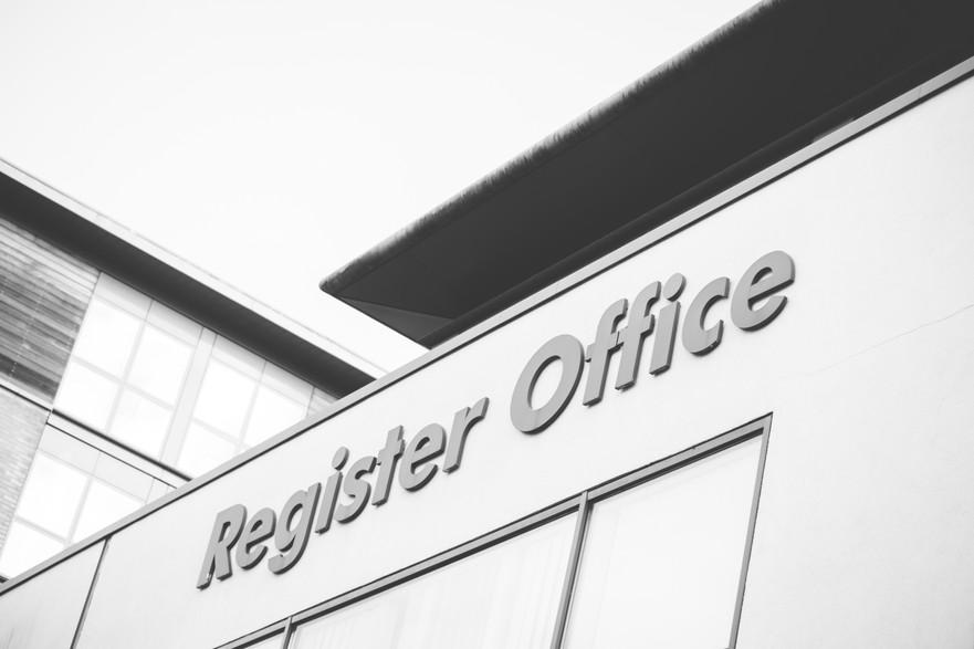 City centre Photographer Birmingham, black & white photograph of the register office sign