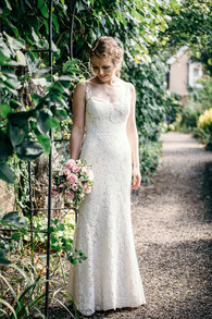 photographer wedding solihull, the bride in the gardens at the lord leycester Warwick wedding venue