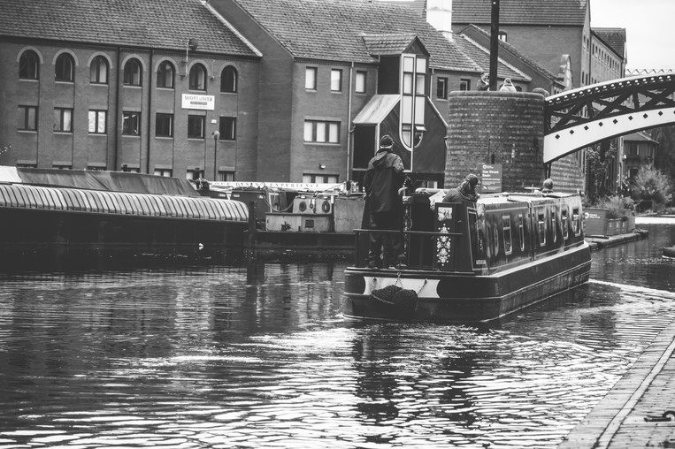 Birmingham Photographer, black & white photograph of a barge on the canals in Birmingham