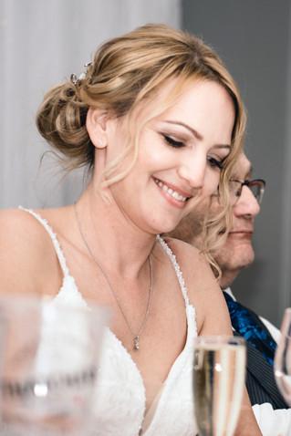 Wedding Photographer Birmingham, the wedding speeches at Westmead hotel Redditch, bride laughing