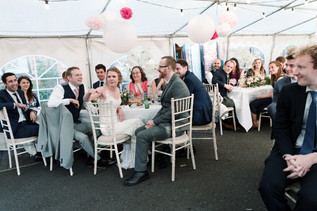 solihull wedding photography, bride & groom with their guests during the speeches at the wedding breakfast