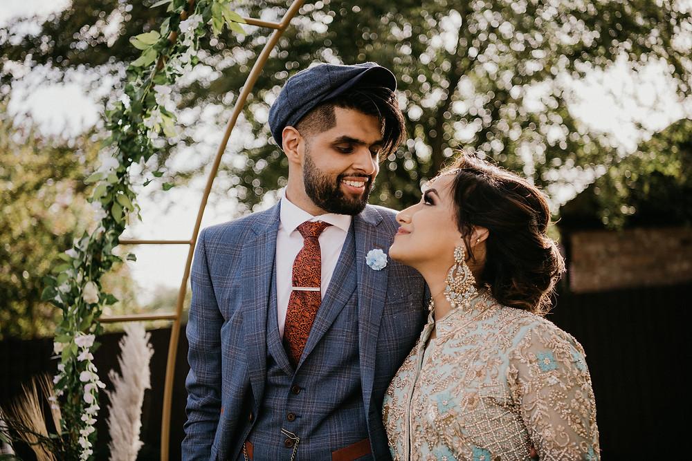 Wedding Photography Solihull, Birmingham, bride & groom walking photograph in a n urban setting Birmingham alternative wedding