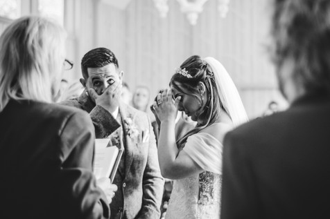 Hampton Manor Wedding Photographer Solihull, emotional photograph of the bride & groom during the ceremony
